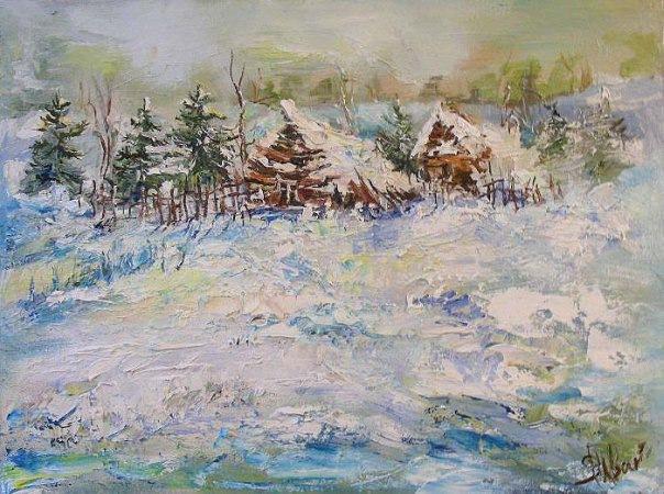 * Новогодний мастер-класс по живописи * Зимний пейзаж