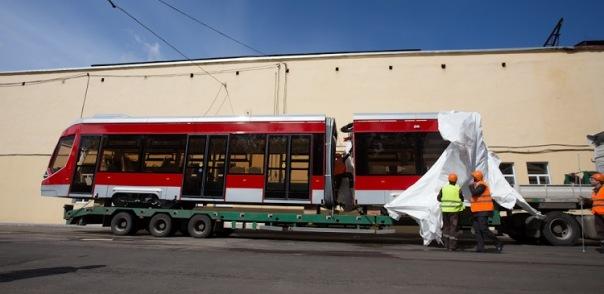 В Петербург привезли первый низкопольный трамвай Витязь