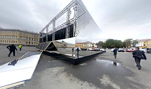 По факту обрушения зеркального павильона на Дворцовой начата проверка