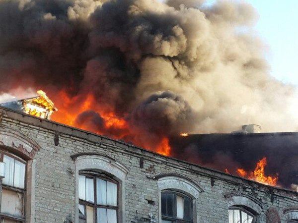 Пожар на фабрике по производству бумаги под Петербургом