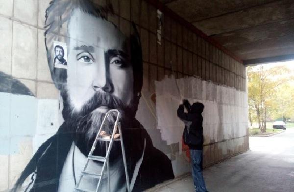 На Московском проспекте появился портрет Владимира Высоцкого