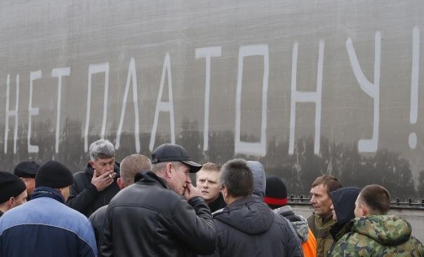 Третья акция протеста в Петербурге собрала всего 7 дальнобойщиков