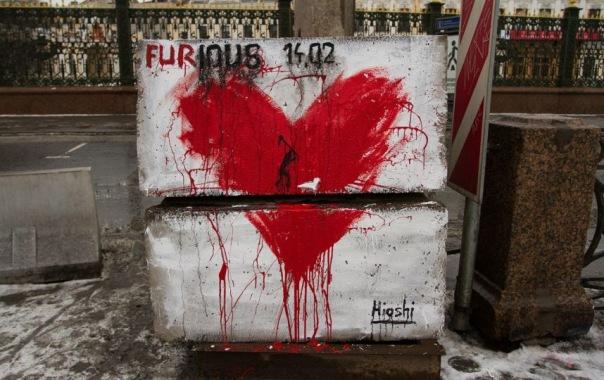 На набережной Фонтанки появилось кровавое граффити нерпы