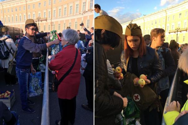 Вместо концерта на Дворцовой блокадникам раздавали яблоки