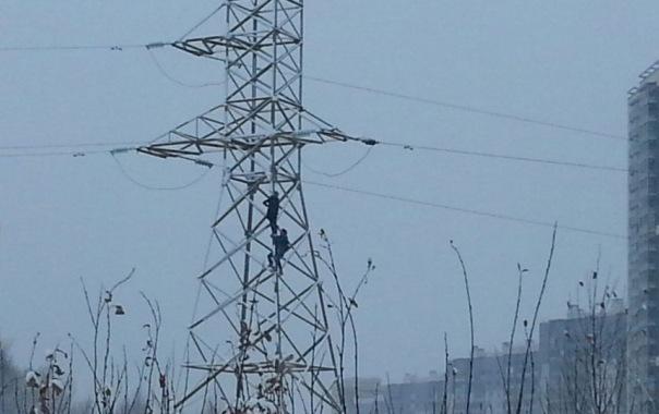 Двое подростков забрались на опору ЛЭП в Приморском районе Петербурга
