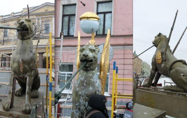 У львов возле Банковского моста сняли крылья