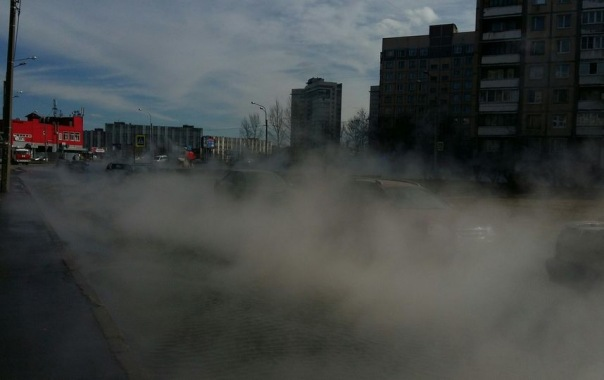 Улицу Турку в Петербурге заволокло паром из-за прорыва трубы