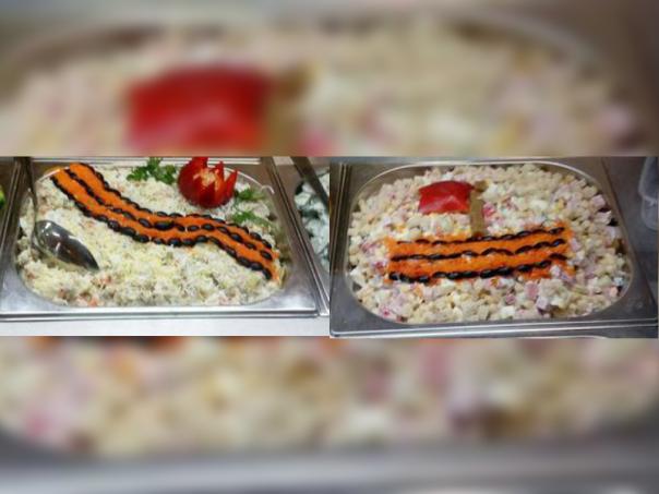 В столовой СПбГУ предлагают съесть георгиевскую ленточку