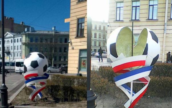 Вандалы повредили украшения с футбольной символикой к Кубку Конфедераций